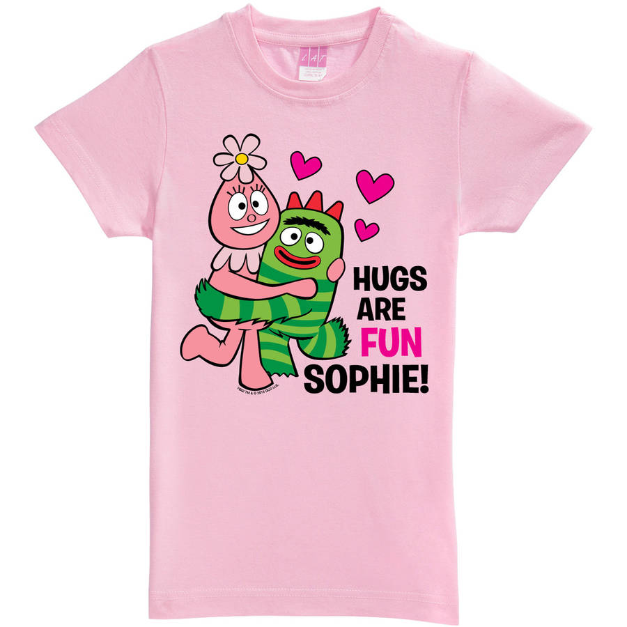 Personalized Yo Gabba Gabba Hugs Are Fun Toddler Girls' Fitted Tee, Pink