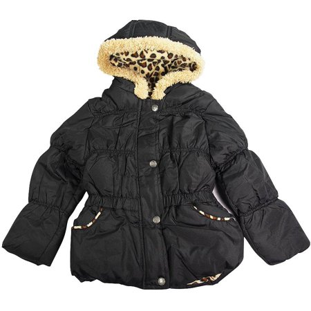 Pink Platinum - Little Girls Hooded Parka Jacket Black Leopard / 4 - Varsity Jackets For Little Girls
