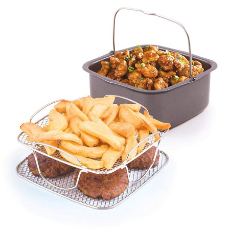36223 Brio Air Fryer Accessory Kit, 3 qt, Multicolor, Includes 2 quart non-stick baking pan, 1/4 or 2 reversible rack and 30 recipes By Nu (Quartz Kit)