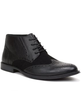 Product Image Alpine Swiss Mens Boots Wing Tip Lace Up Dress Shoes Two Tone Brogue Medallion
