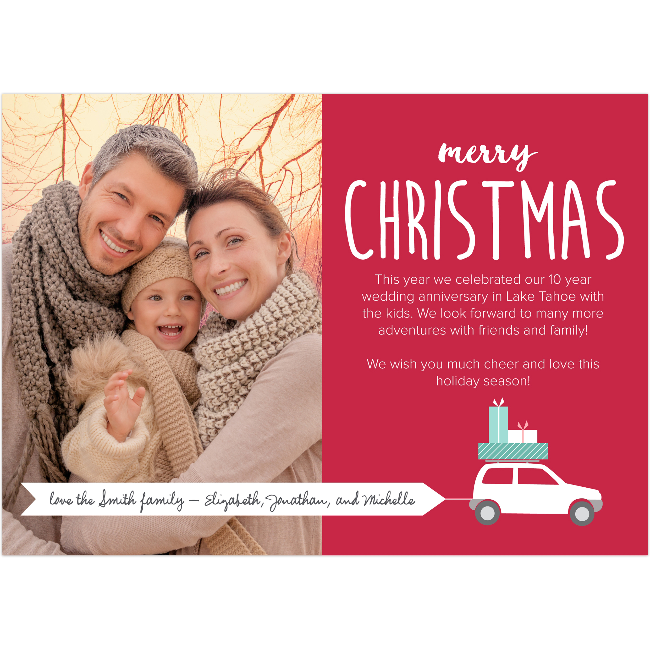 Car Banner - 5x7 Personalized Christmas Card