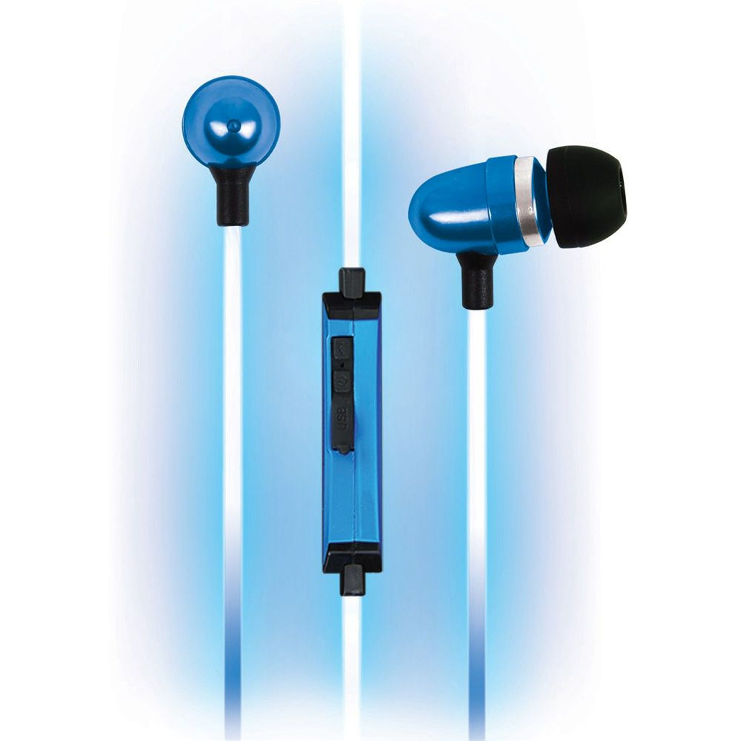 Pilot Automotive EL-1300B Electroluminescent Audio Response Ear Bud, Blue