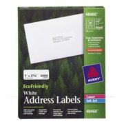 Avery White EcoFriendly Address Labels, 1 x 2.625 Inches, Box of 3000 (48460)