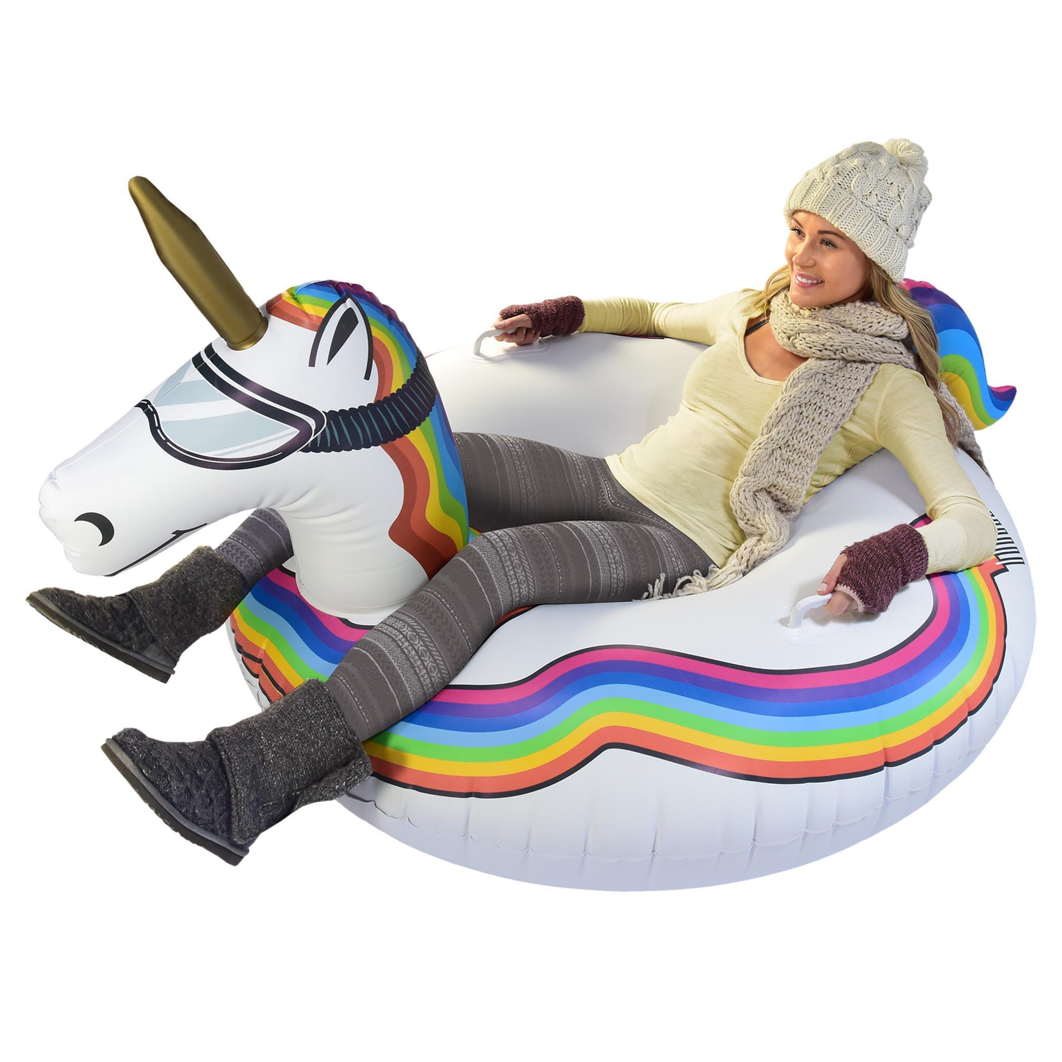 GoFloats Winter Snow Tube Unicorn The Ultimate Sled & Toboggan by P&P Imports; LLC