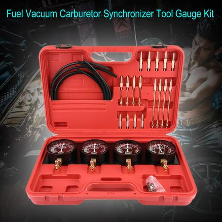 Ejoyous 4Pcs Motorcycle Fuel Vacuum Carburetor Carb Synchronizer Tool Balancer Gauge Kit, Carb Synchronizer Gauge,Vacuum Carburetor Synchronizer (Carb Kit Motorcycle)