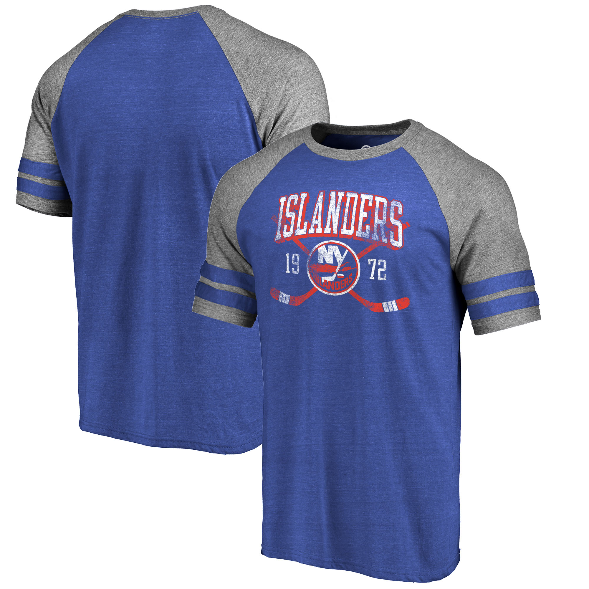 New York Islanders Fanatics Branded Vintage Collection Line Shift Tri-Blend Raglan T-Shirt - Royal