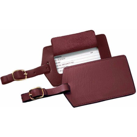 Royce Leather Luggage Tag Travel ID with Privacy Flap in Genuine Leather