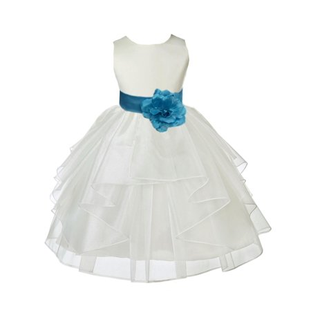 ekidsbridal ivory turquoise shimmering organza christmas bridesmaid recital easter holiday wedding pageant communion princess birthday clothing
