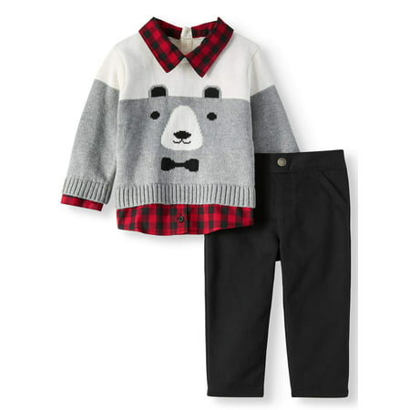 Critter Sweater & Twill Pants, 2pc Outfit Set (Baby Boys) - Toddler Boy Valentine Outfit