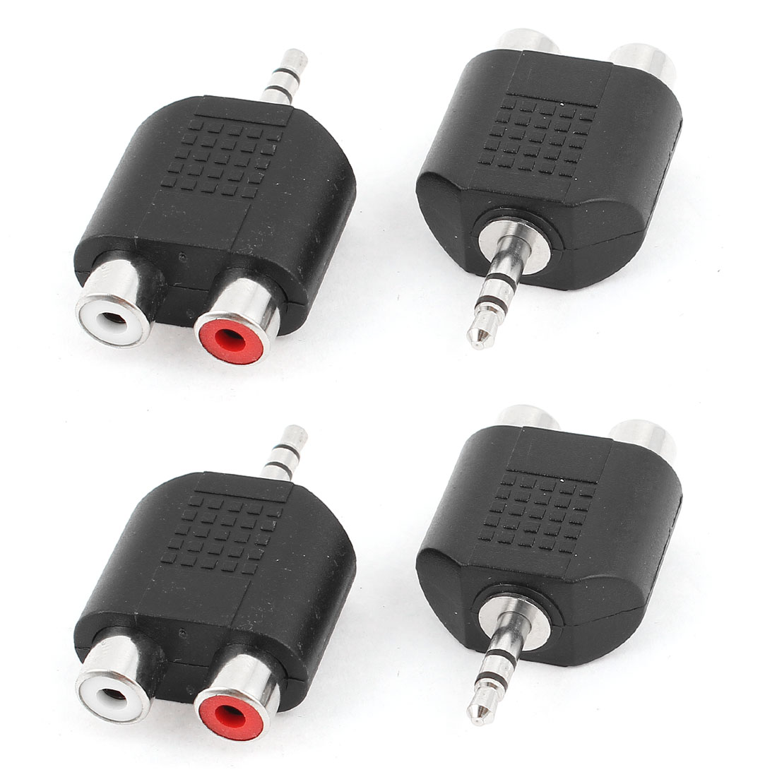 4pcs 3.5mm Diameter Male to Dual RCA Female Jacks Audio Adapter