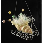 """North Star 4.5"""" Seashell Sleigh with Pearls and Tinsel Christmas Ornament - Yellow/Green"""