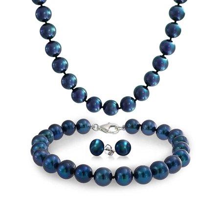 Freshwater Cultured Pearl Strand Necklace Bracelet Earrings Black Strand Cross