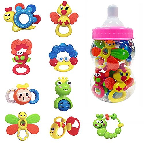 9 Piece Baby Rattle and Teether Toy Gift Set for Girls in Storage Milk Bottle (Pink) by Liberty Imports