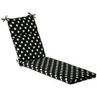 Outdoor Patio Furniture Chaise Lounge Cushion - Black & White Polka Dot