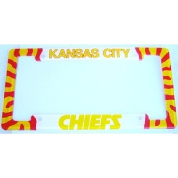 Kansas City Chiefs Acrylic License Frame.  Free Screw Caps Included