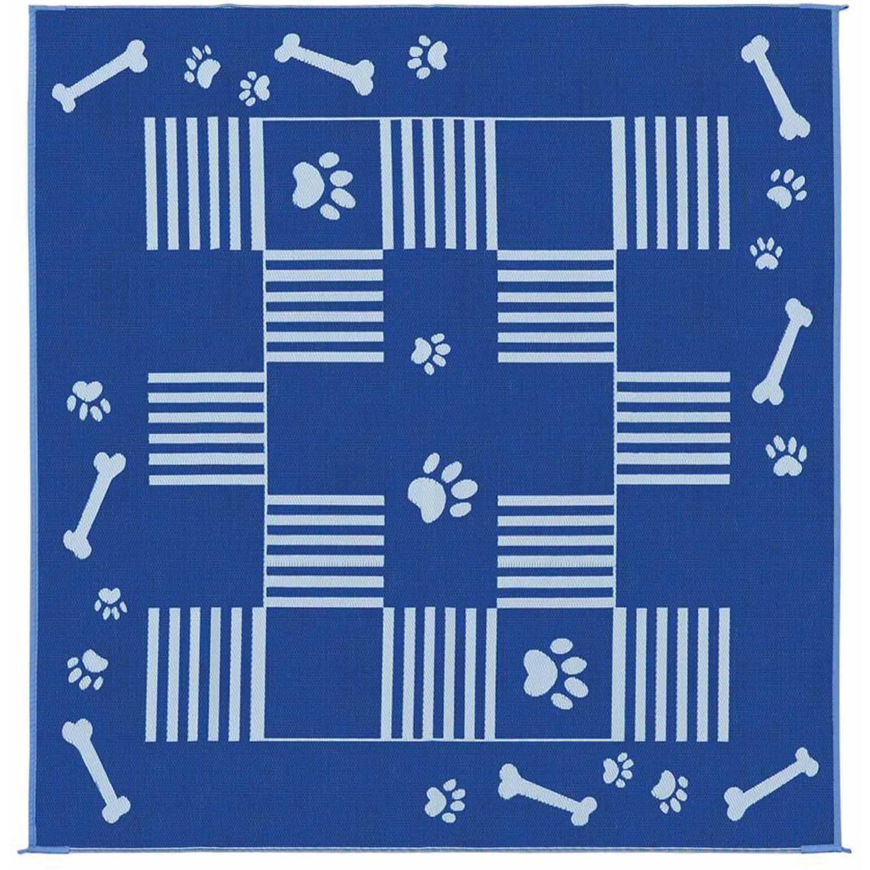 Stylish Camping Reversible Dog Paw/Bone Patio Mat, Blue