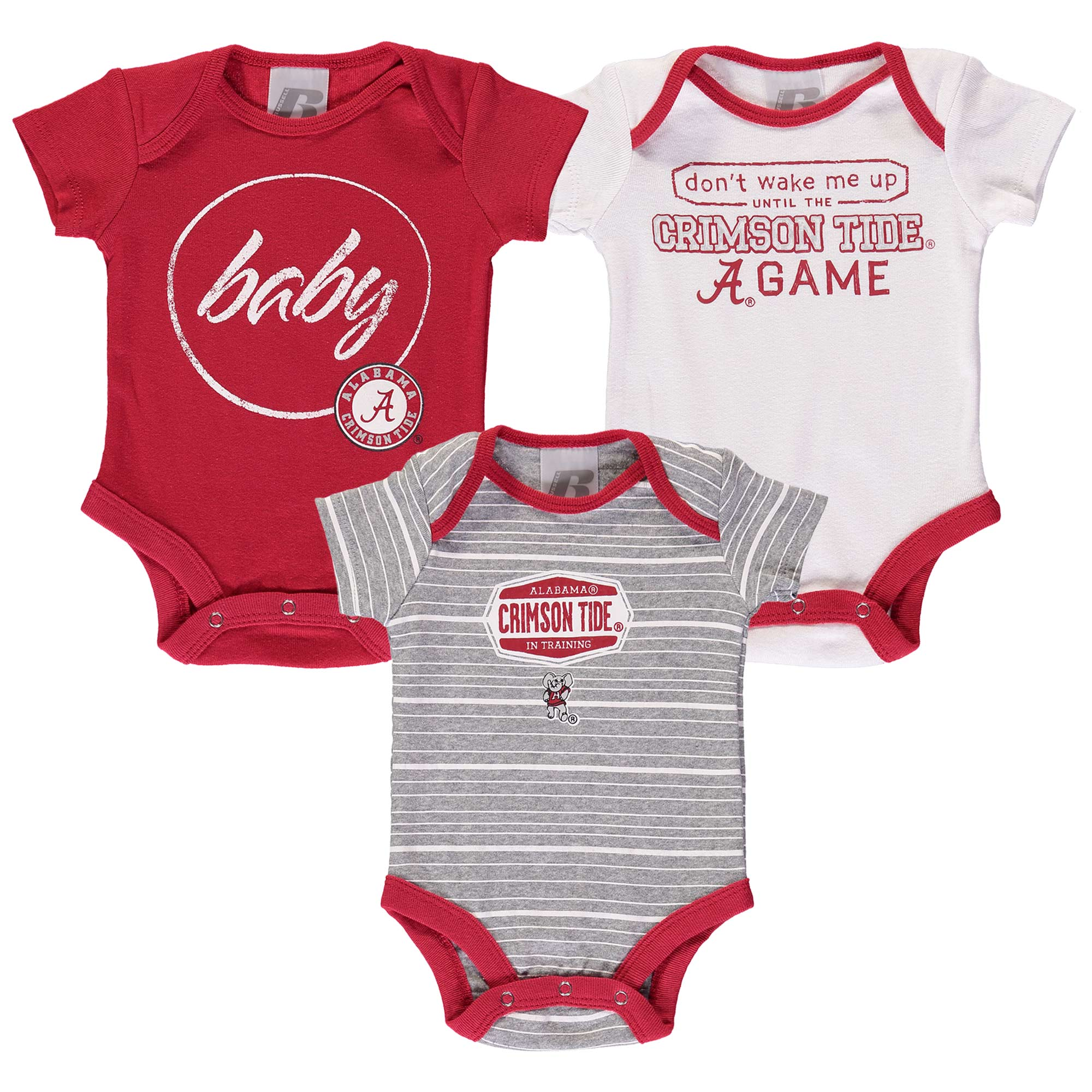 Newborn & Infant Russell Crimson Alabama Crimson Tide Three-Pack Bodysuit Set