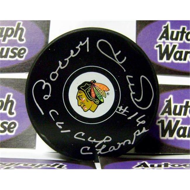 Bobby Hull autographed hockey puck (Chicago Blackhawks) inscribed 61 Cup Champs