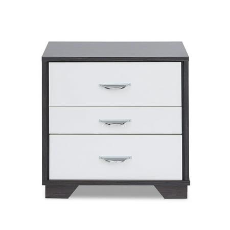 Modern rectangular black and white wooden bedside table