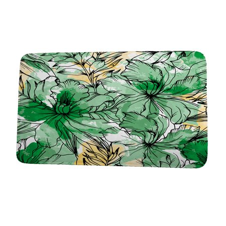 (24 x 36 Inch Cuban Flare Zentangle Green Floral Print Bath Mat)