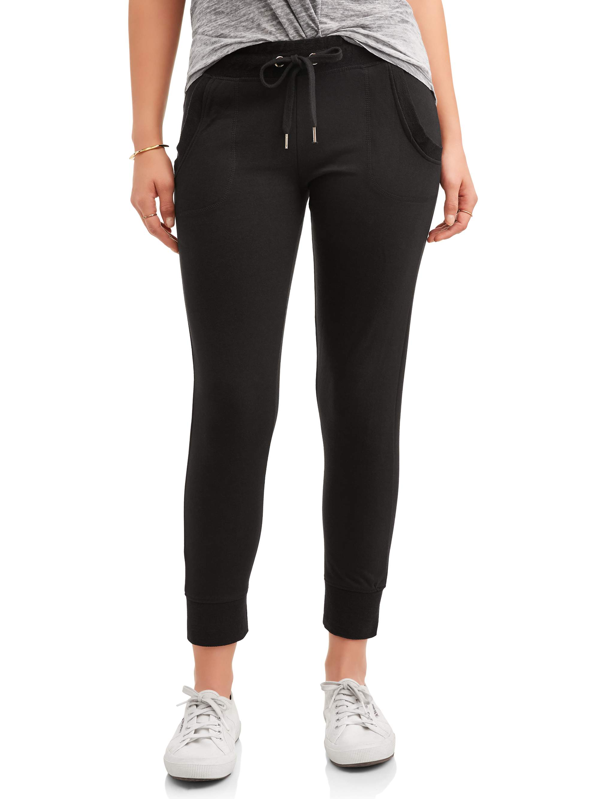 New York Laundry Athleisure Women's French Terry Jogger Pant with Pork Chop Pockets