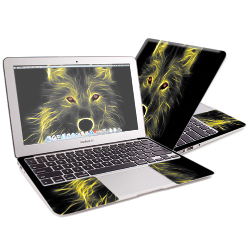 "Mightyskins Protective Skin Decal Cover for Apple MacBook Air 13"" (2010-2017 Model) with 13.3 inch screen wrap sticker skins Neon Wolf"