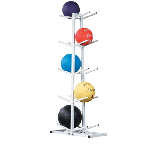 """Holds up to 10 medicine balls. Some assembly required. 22.5""""L x 11""""W x 52""""H."""
