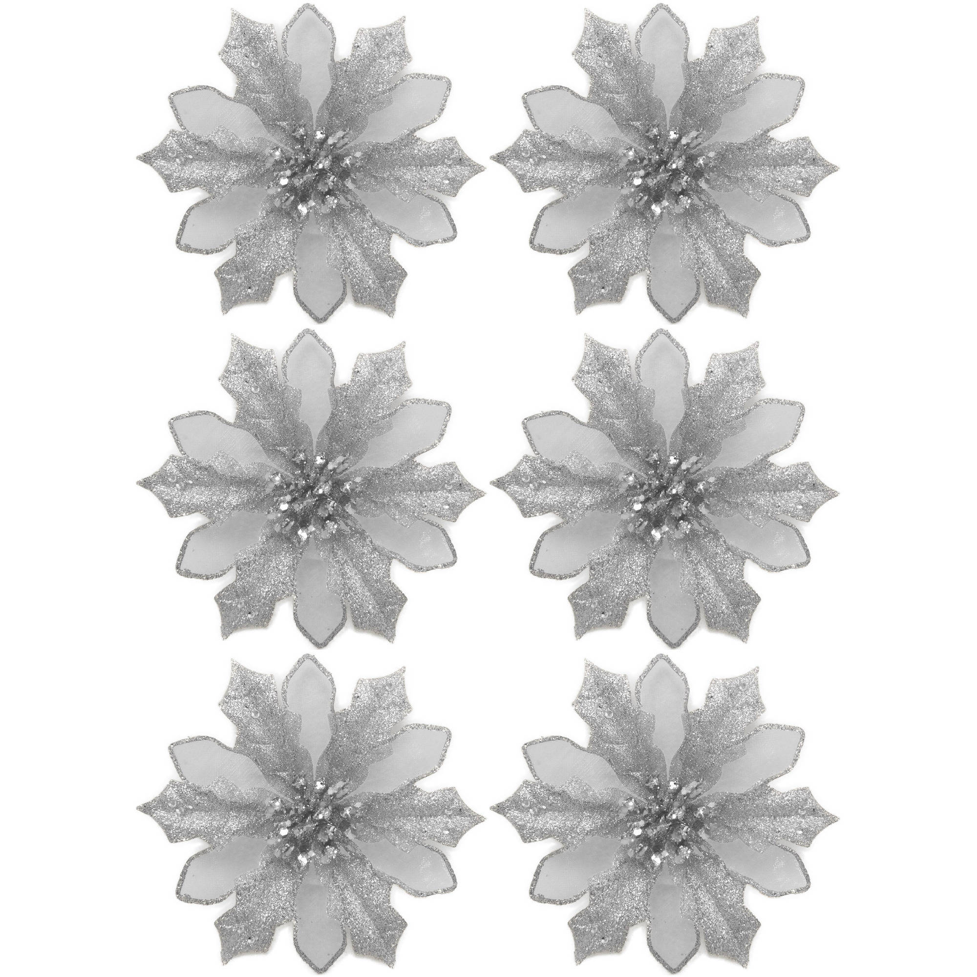 Holiday Time Silver Clip Poinsettia Christmas Ornaments Set of 6