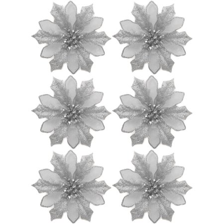 Holiday Time Silver Clip-On Poinsettia Christmas Ornaments ...