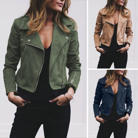 Women Ladies Suede Leather Jacket Coats Zip Up Biker Flight Casual Top Coat Outwear