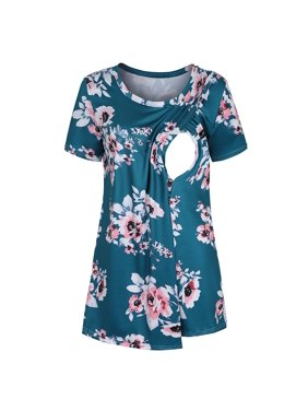 Tuscom Women Maternity Pregnancy Floral Print Nursing Baby Breastfeeding T-shirt Tops
