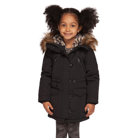 Little Girl's Faux Fur-Trim Hooded Cotton-Blend Coat (Tan Trench Coat With Hood)