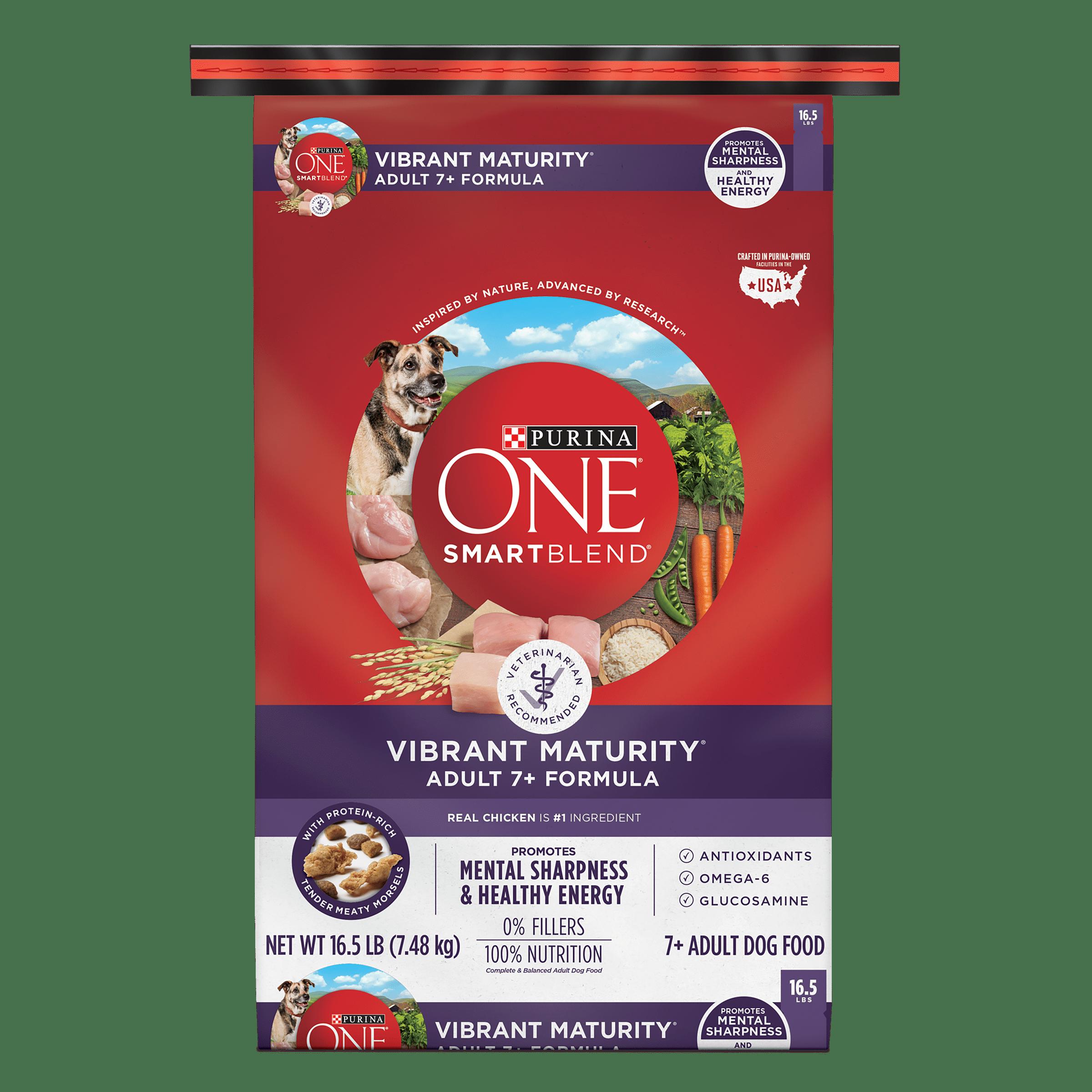 Purina ONE SmartBlend Vibrant Maturity Adult 7+ Formula Dry Dog Food - 16.5 lb. Bag