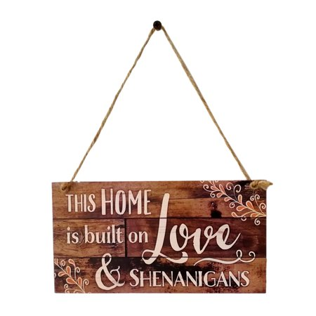 This Home is Built on Love Wood Plank Design Hanging Sign Holiday Door Decoration Wooden Wall Sign (Hanging Wall Sign)