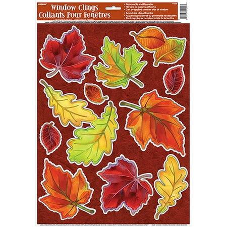 Crisp fall leaves window cling sheet 1ct