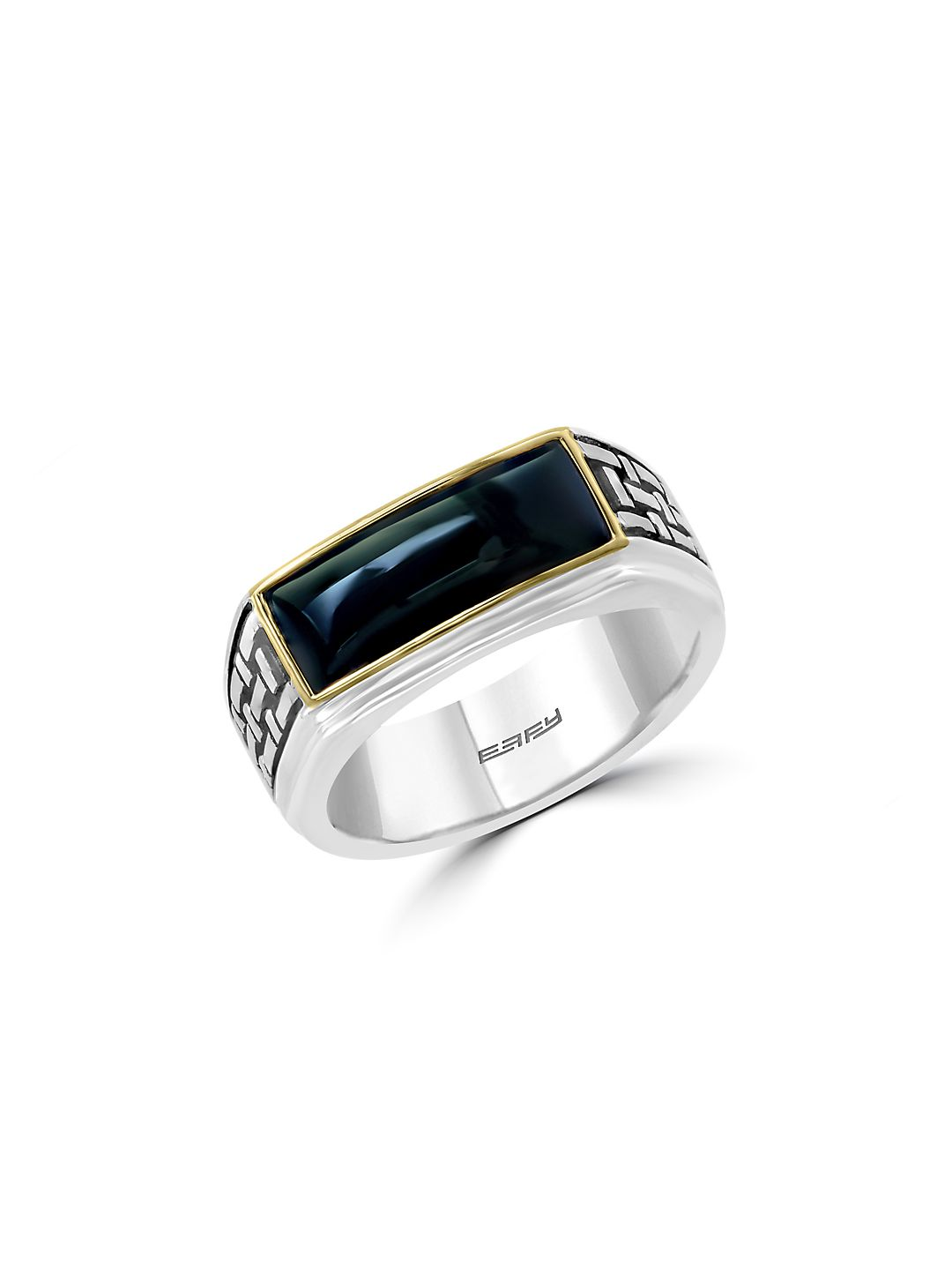 Gento 925 Sterling Silver, Onyx & 14K Yellow Gold Ring