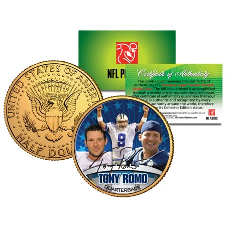 TONY ROMO Colorized JFK Kennedy Half Dollar 24K Gold Plated Coin DALLAS COWBOYS
