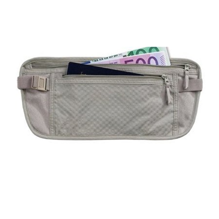 Unisex Zipped Compact Wallet - 1Pc Money Belt Pouch Hidden Travel Wallet Passport ID Holder Secure Khaki Unisex