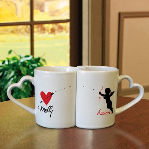 Personalized Interlocking Heart Mugs, Cupid