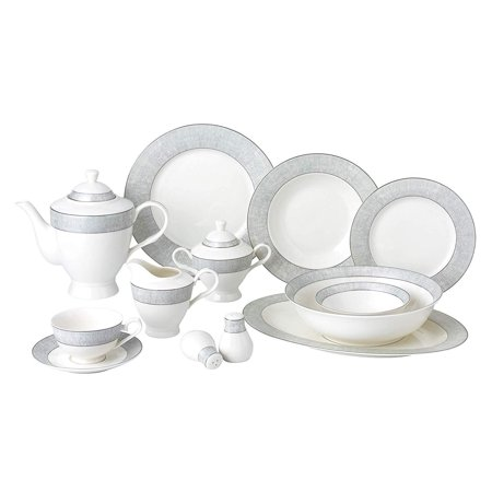 Royalty Porcelain Vintage Platinum Pattern 57-pc Dinnerware Set 'Galaxy', Premium Bone China Fine China Platinum Dinnerware Set