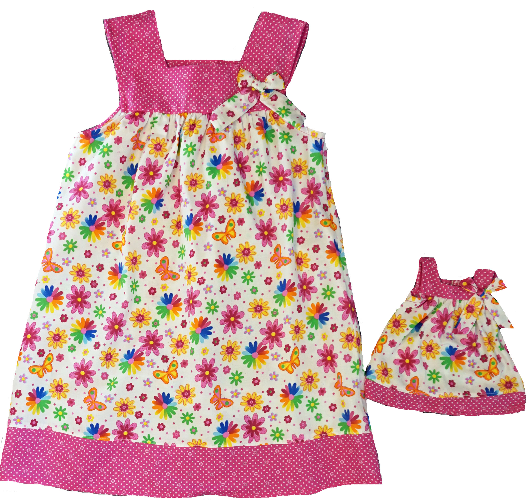 Size 8 Matching Girl And Doll Bright Flower And Butterfly Dresses
