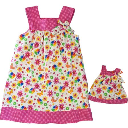 Size 8 Matching Girl And Doll Bright Flower And Butterfly (Flower Girl Doll)