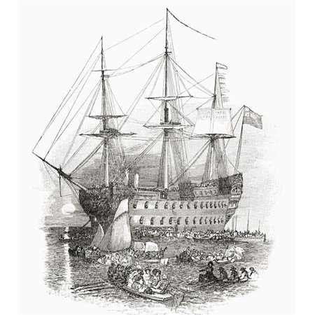 Posterazzi  The Hms Bellerophon, The Ship Which Carried Napoleon to St Helena In 1815 From The Book Short History of The English People By JR Green Published London 1893 Poster Print, 13 x 15 ()