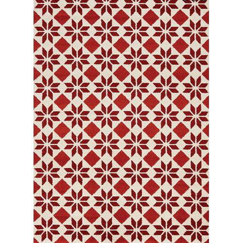 Gracie Oaks Lewisboro Geometric Flower Cream/Red Area Rug