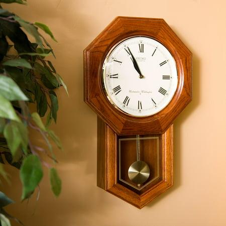 Seiko Dark Brown Oak Schoolhouse Wall Clock - 13 Inches Wide