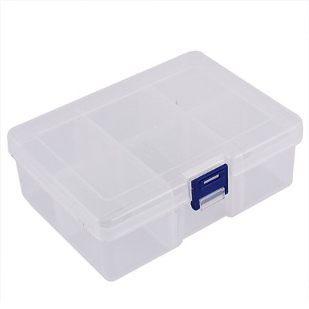 Unique Bargains Jewelry Hardware Plastic 6 Slots Storage Case Box Organizer Conatiner Clear