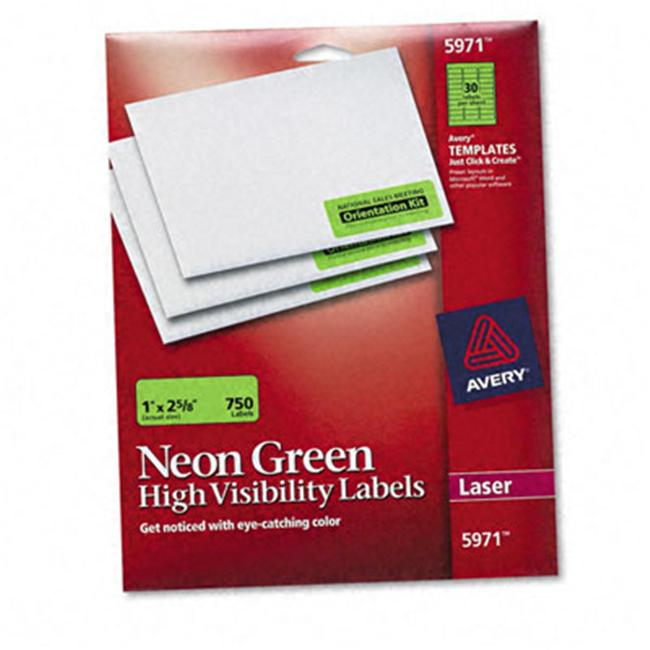 Avery 5971 Neon Laser Labels  1 x 2-5/8  Fluorescent Green  750 Pack