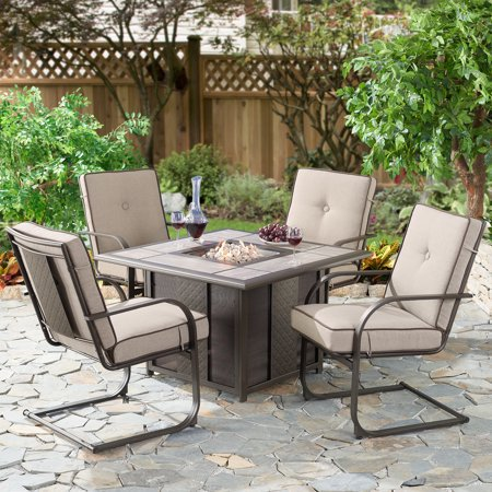 Better Homes & Gardens Everson 5-Piece Square Fire Pit and Motion Lounge Chair Set