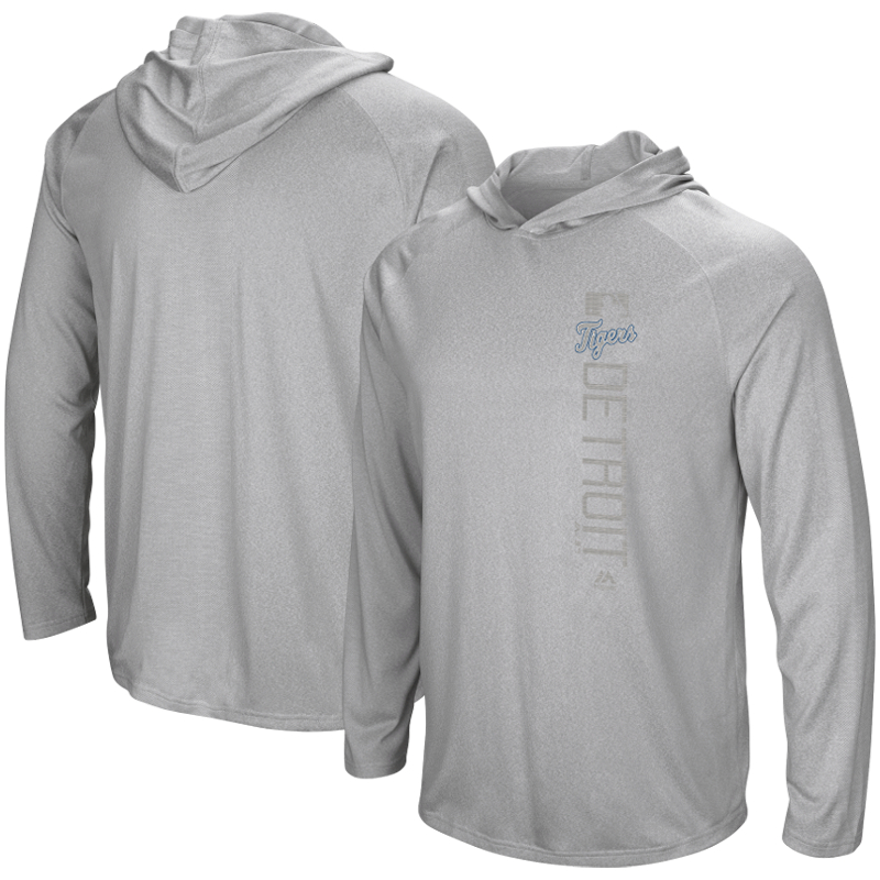 Detroit Tigers Majestic Authentic Collection Ultra-Light Hooded Long Sleeve T-Shirt - Heathered Gray