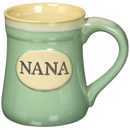 Nana Best Job Ever Porcelain Mug, Mint green background mug with taupe varied rim. Front of mug is embossed with NANA in center in brown. Message.., By (Best Green For Kitchen)